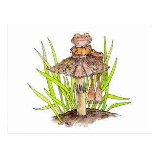 Toads Sharing A Book Postcard