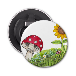 Toadstool and Sunflower Bottle Opener