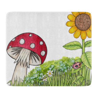 Toadstool and Sunflower Cutting Board