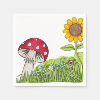 Toadstool and Sunflower Paper Napkin