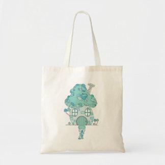 Toadstool Mushroom House Teal Blue Green Pixie Tote Bag