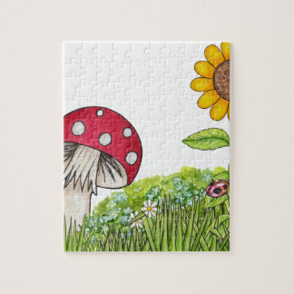 Toadstool with Sunflower and Ladybug products Puzzle