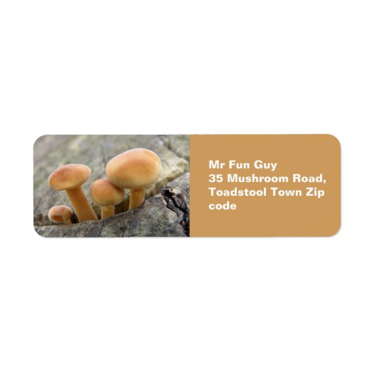 Toadstools on a Tree Trunk Custom Labels