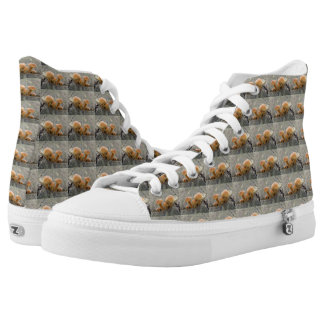 Toadstools on a Tree Trunk High Top Shoes