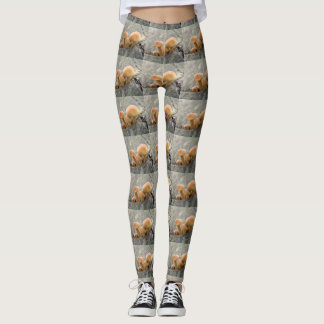 Toadstools on a Tree Trunk Leggings
