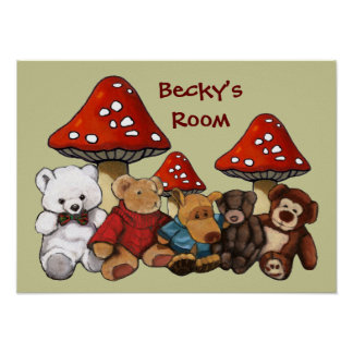 Toadstools & Teddy Bears: Child's Room Personalize Poster