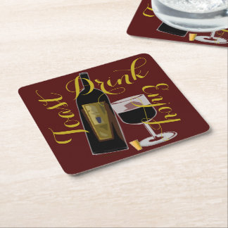 Toast Drink Enjoy Wine Bottle Square Paper Coaster