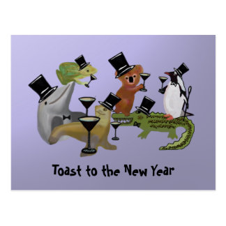 Toast to the New Year Postcard