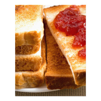 Toasted slices of bread with strawberry jam letterhead