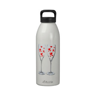 Toasting Champagne Hearts Valentine Water Bottles