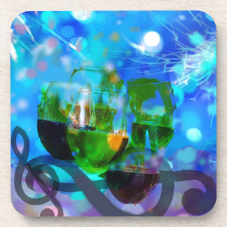 Toasting glasses and music notes. coaster