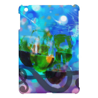 Toasting glasses and music notes. cover for the iPad mini