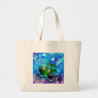 Toasting glasses and music notes. large tote bag