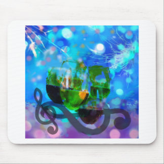 Toasting glasses and music notes. mouse pad