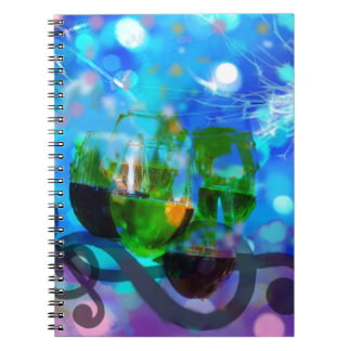 Toasting glasses and music notes. notebook