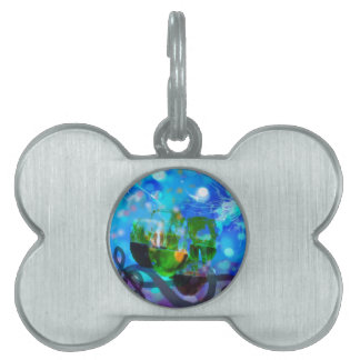 Toasting glasses and music notes. pet tag