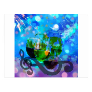Toasting glasses and music notes. postcard