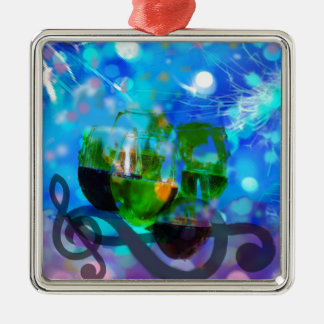 Toasting glasses and music notes. Silver-Colored square ornament