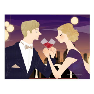 Toasting Glasses Postcard