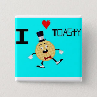 Toasty the Waffle Man 2 Inch Square Button
