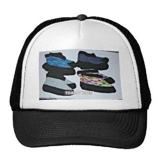toasty toes handknit slippers trucker hat