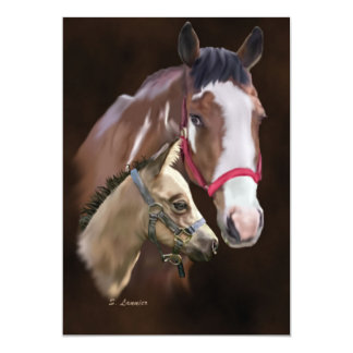 Tobiano Paint Mare and Foal Print Card
