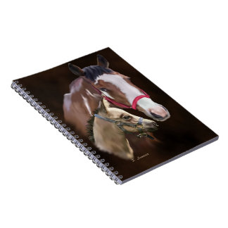 Tobiano Paint Mare and Foal Spiral Notebook