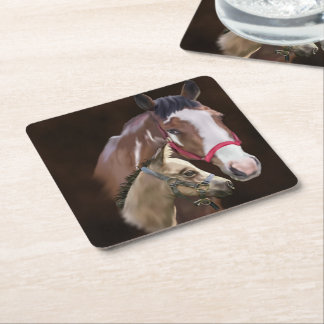 Tobiano Paint Mare and Foal Square Paper Coaster