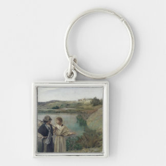 Tobias and the Archangel Raphael Silver-Colored Square Keychain