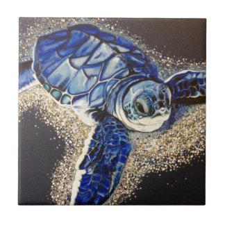 Tobin the baby sea turtle tile