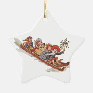 Toboggan Double-Sided Star Ceramic Christmas Ornament