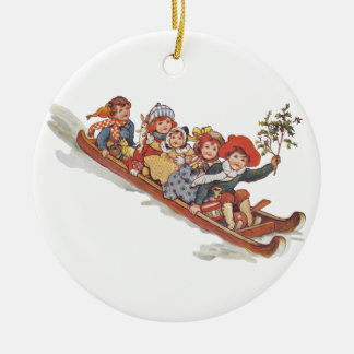 Toboggan Double-Sided Ceramic Round Christmas Ornament