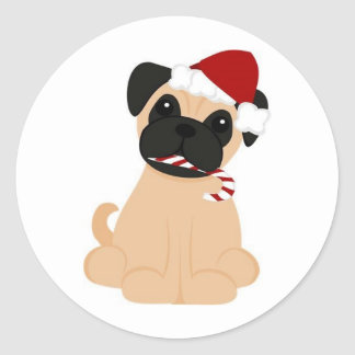Toby the Pug Round Stickers