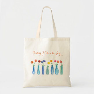 Today I Choose Joy Watercolor Rose Bouquet Tote Bag