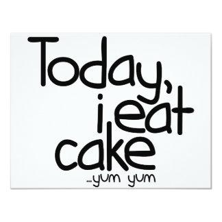 """Today i eat cake (Birthday) 4.25"""" X 5.5"""" Invitation Card"""