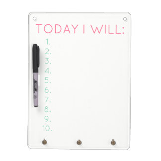 Today I Will: Daily Productivity & Organization Dry Erase Board