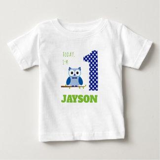 Today I'm 1 Blue Boy Owl Birthday Baby T-Shirt
