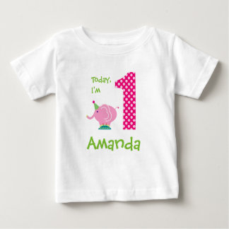 Today I'm 1 Pink Elephant Birthday Baby T-Shirt