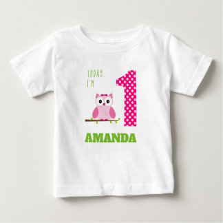 Today I'm 1 Pink Girl Owl Birthday Baby T-Shirt