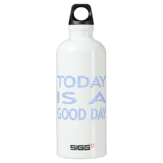 Today is a good day - strips - blue and white. water bottle