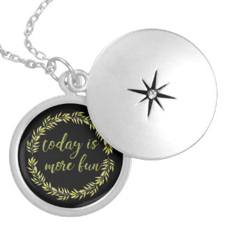 """Today is more fun"" encouraging necklace for moms"