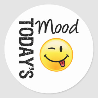 Today's Mood Emoticon Playful Classic Round Sticker