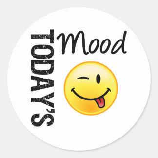 Today's Mood Emoticon Playful Round Sticker