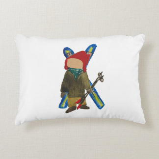 Toddie Time Winter Snow Days Toddler Skier Boarder Decorative Pillow