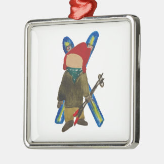 Toddie Time Winter Snow Days Toddler Skier Boarder Silver-Colored Square Ornament