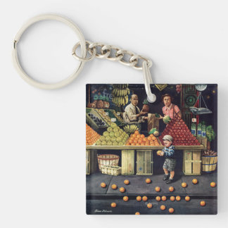 Toddler and Oranges Double-Sided Square Acrylic Keychain