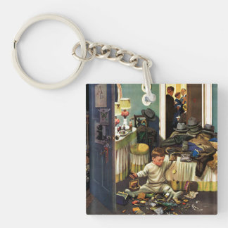 Toddler Empties Purses Double-Sided Square Acrylic Keychain
