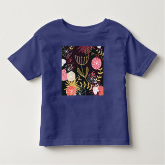 Toddler fashionable t-shirt blue with Folk flowers