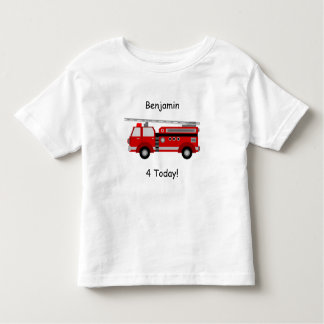 """Toddler Fire Truck T-Shirt with Name & """"4 Today!"""""""