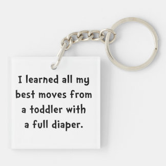 Toddler Full Diaper Double-Sided Square Acrylic Keychain